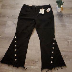 RACHEL Rachel Roy bell bottom fringe studded jeans